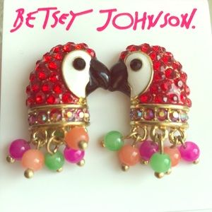 🔵 Betsey Johnson Parrot Pave & Bead Earrings